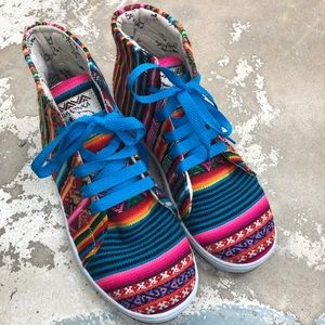 Shoes - Multi-Colored Canvas high top sneakers